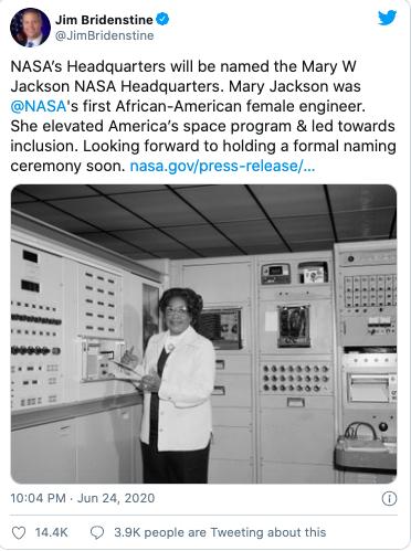 انتخاب نام یک بانوی سیاهپوست برای مقر اصلی ناسا