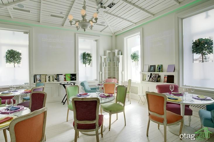 نمای داخلی رستوران با طراحی ساده اما بسیار زیبا و شیک